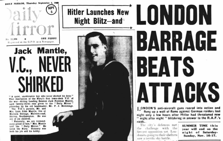 Front page of the Daily Mirror, 5 September 1940. Image © Trinity Mirror. Image created courtesy of the British Library Board