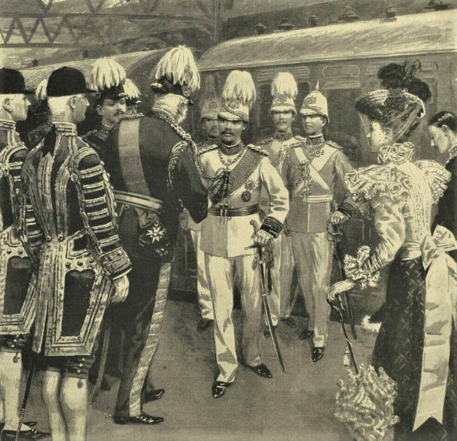 The Duke of Cambridge greeting Chulalongkorn at Victoria railway station, London, in August 1897. Image © Illustrated London News Group