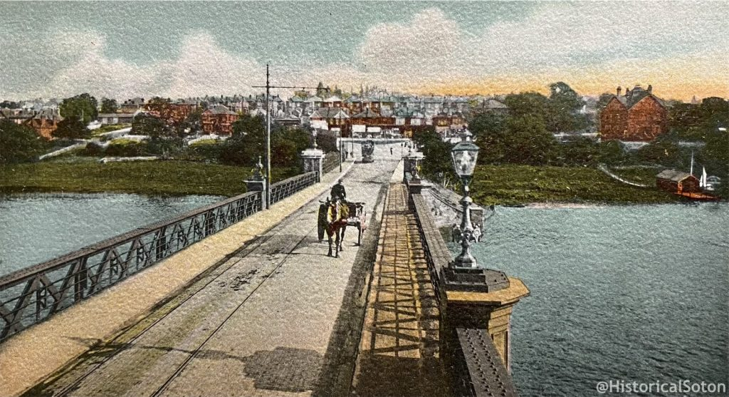 The original Cobden Bridge, the scene of the battle. From a postcard in my collection.