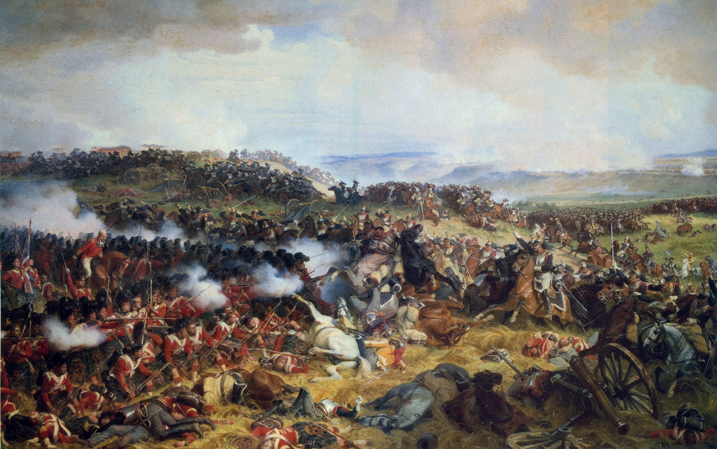 The Battle of Waterloo: The British Squares Receiving the Charge of the French Cuirassiers by Henri Félix Emmanuel Philippoteaux, 1874.