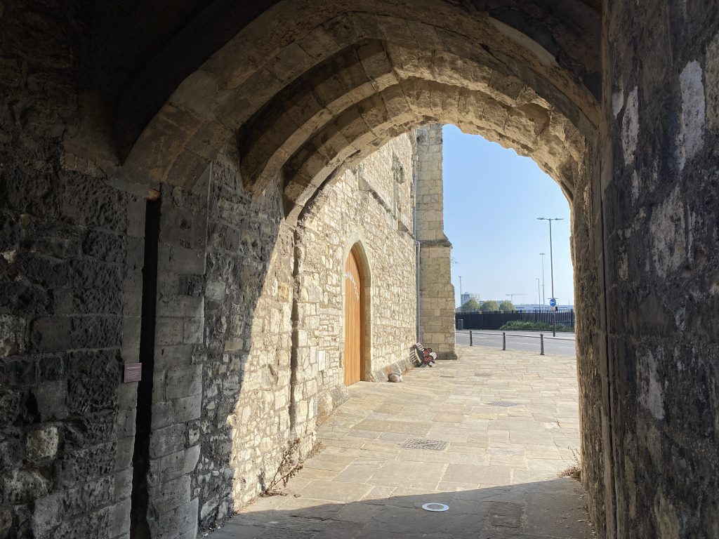 Through God's House Gate, which has a number of other names, including Lambcote Gate and Saltmarsh Gate.