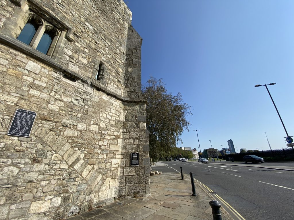 The corner of the 15th century God's House Tower, which Jane may have walked past on her way to cross the River Itchen.