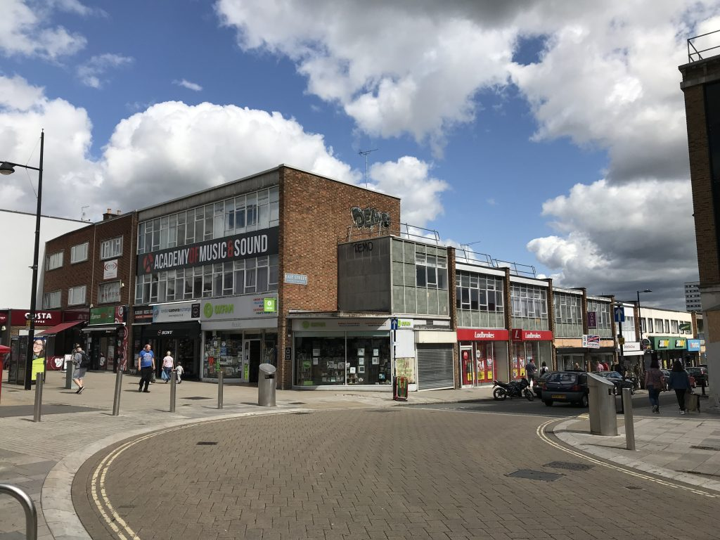 Southampton's post-war architecture and the former site of All Saints' Church, on the corner of Southampton High Street and East Street.