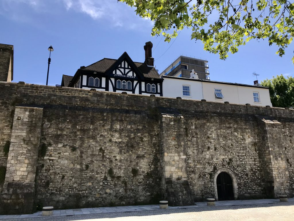 The Juniper Berry pub, atop the western stretch of Southampton's medieval wall.