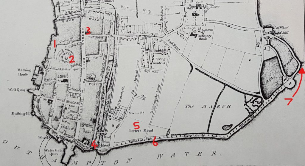 Southampton in 1791, around sixteen years before Jane Austen and her family went to Netley Abbey. 1) Castle Square 2) Southampton Castle 3) All Saints' Church 4) God's House Gate 5) Porter's Meadow 6) The Beach 7) The Cross House