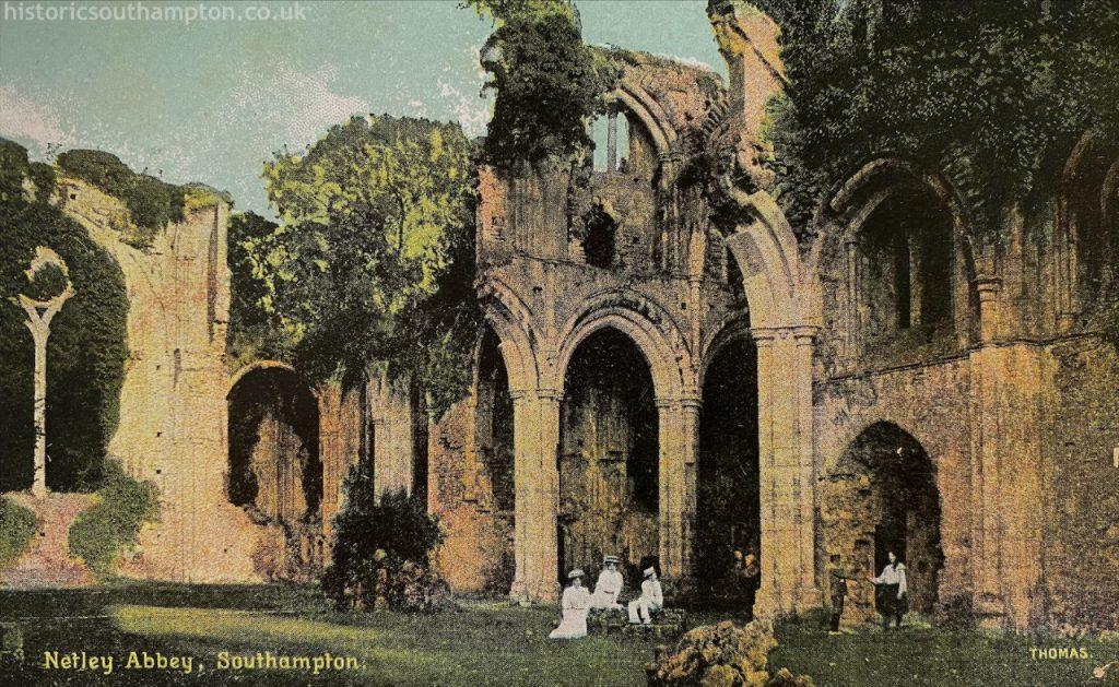 Edwardian tourists at Netley Abbey.