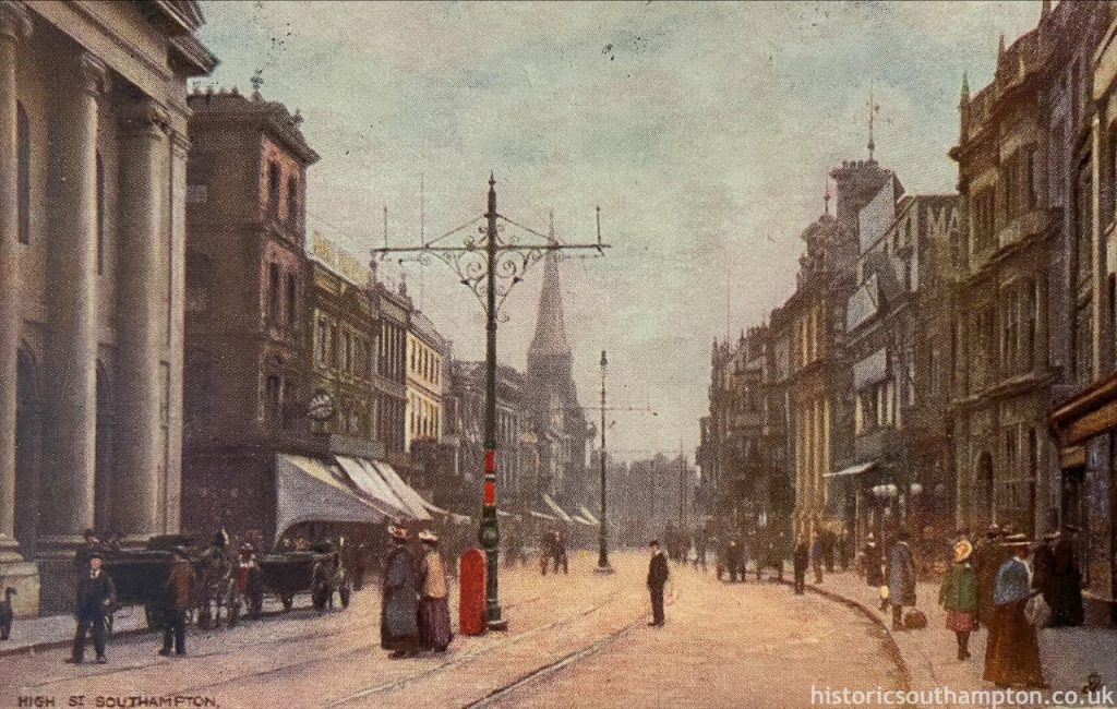 Southampton High Street, around one hundred years after Jane Austen lived in Southampton. She would recognise All Saints' Church, on the left here.