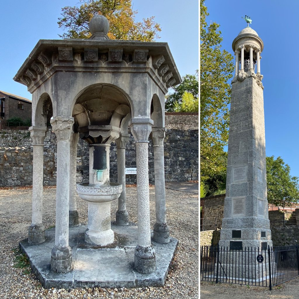 The Mary Ann Rogers Memorial and the Mayflower Memorial.