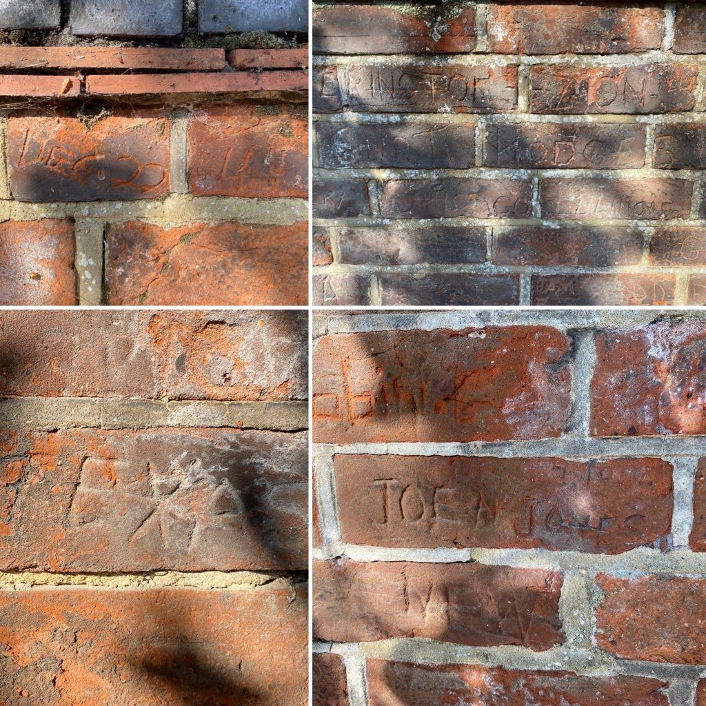 Some of the carvings on the American wall.