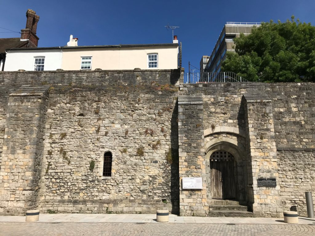 You're currently stood on the site of Southampton Castle's quay. The gate led to a vault and the castle, which was situated where the tower block currently stands.