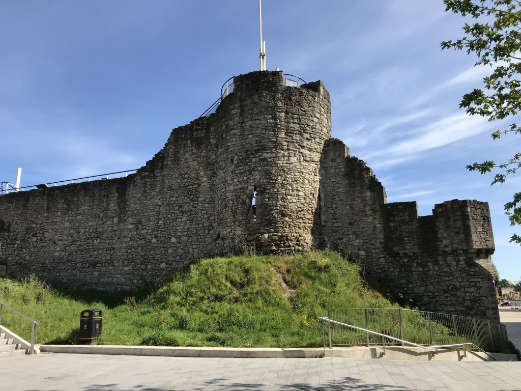 Arundel Tower, at the north-west corner of Southampton's town walls. The tower would have once been much taller than it is today.