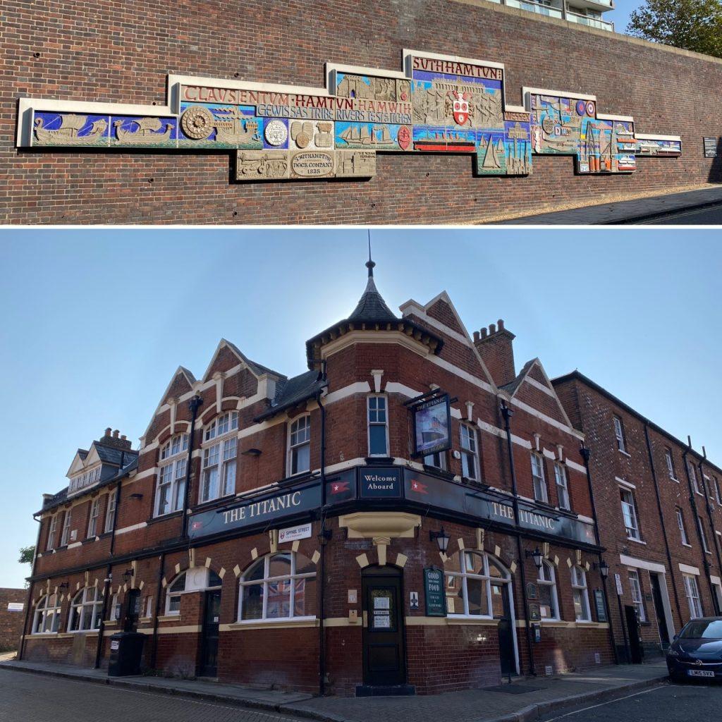 The Hamtun Street mural and the Titanic pub. This pub was formerly known as the bla bla bla and slum clearances bla bla bla built a pub bla bla BLA