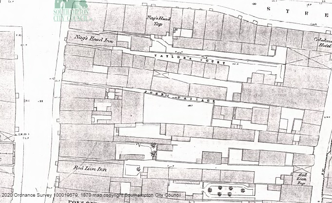 The Red Lion and the Nag's Head on Southampton High Street in 1870. Note both pubs had a separate tap room. From Southampton City Council's 1870 map of Southampton, which can be viewed here: 1870 Map of Southampton
