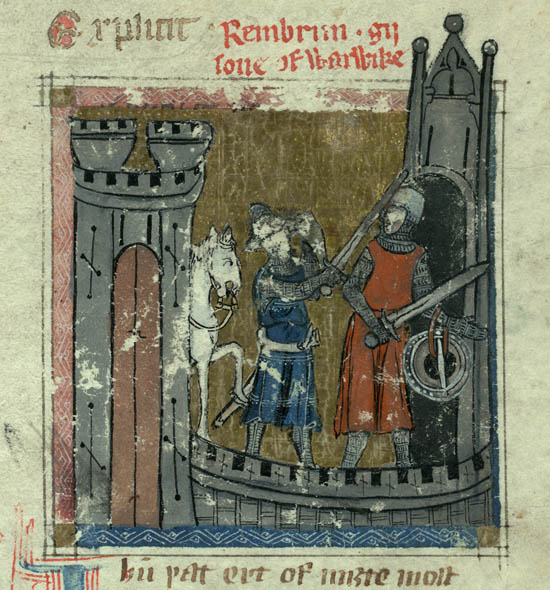 A page from the Auchinleck Manuscript, circa 1330.