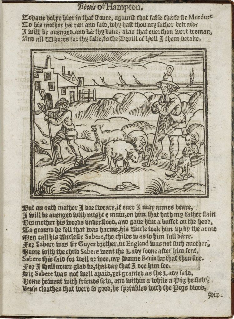 Bevis on the green with the sheep. This image is from a book which dates to circa 1630. Image courtesy of Wikipedia (link opens in new tab).