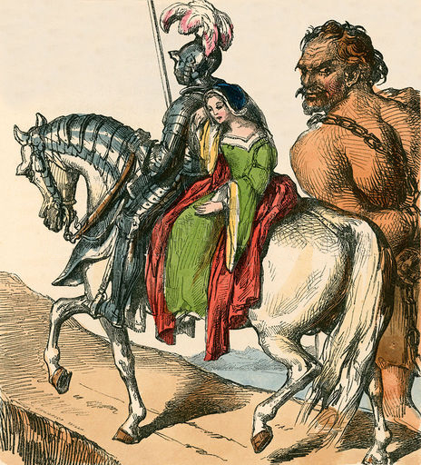 Sir Bevis, Josian, Arondel, and Ascopart. Image from The Home Treasury of Old Story Books (Sampson Low, 1859), courtesy of Wikipedia.