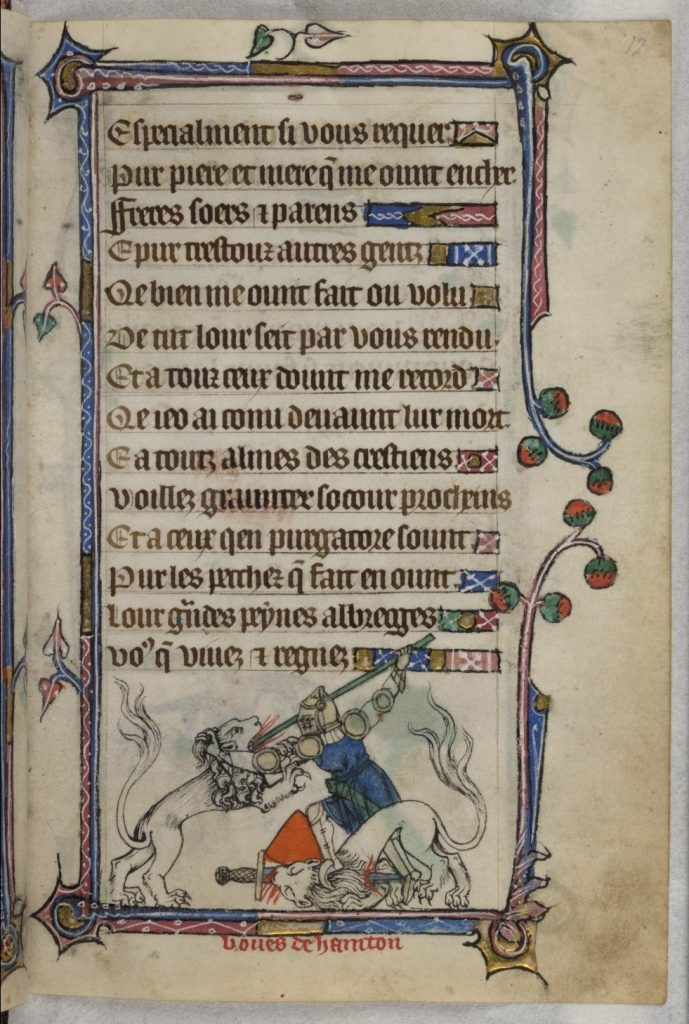 Bevis fighting the lions. Image from the illuminated Taymouth Hours, which was produced in England circa 1330. Image courtesy of Wikipedia.