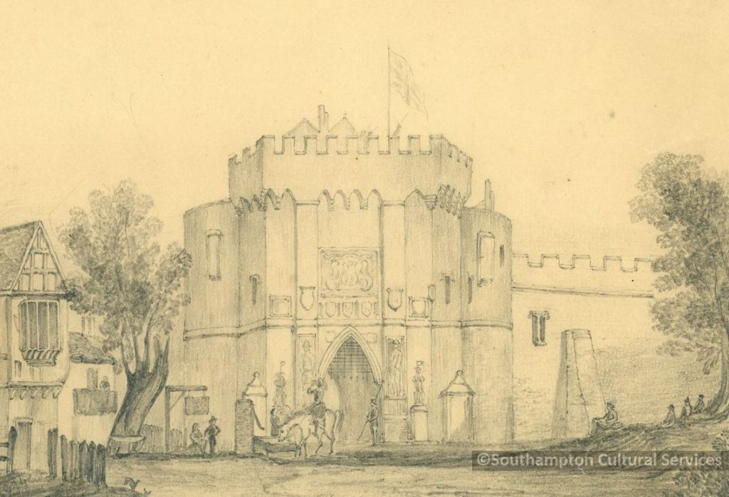 This wonderful drawing of the north side of the Bargate shows a guard keeping watch at the gate, near the two lions. The panels depicting Bevis and Ascopart can be seen, one on each side of the gate. This is the view that would have welcomed the likes of Samuel Pepys and Daniel Defoe to Southampton. This image has very kindly been provided by Southampton Cultural Services (@SotonStories on Twitter) and the image remains their property. Please do not download, share, distribute, edit, copy, etc.
