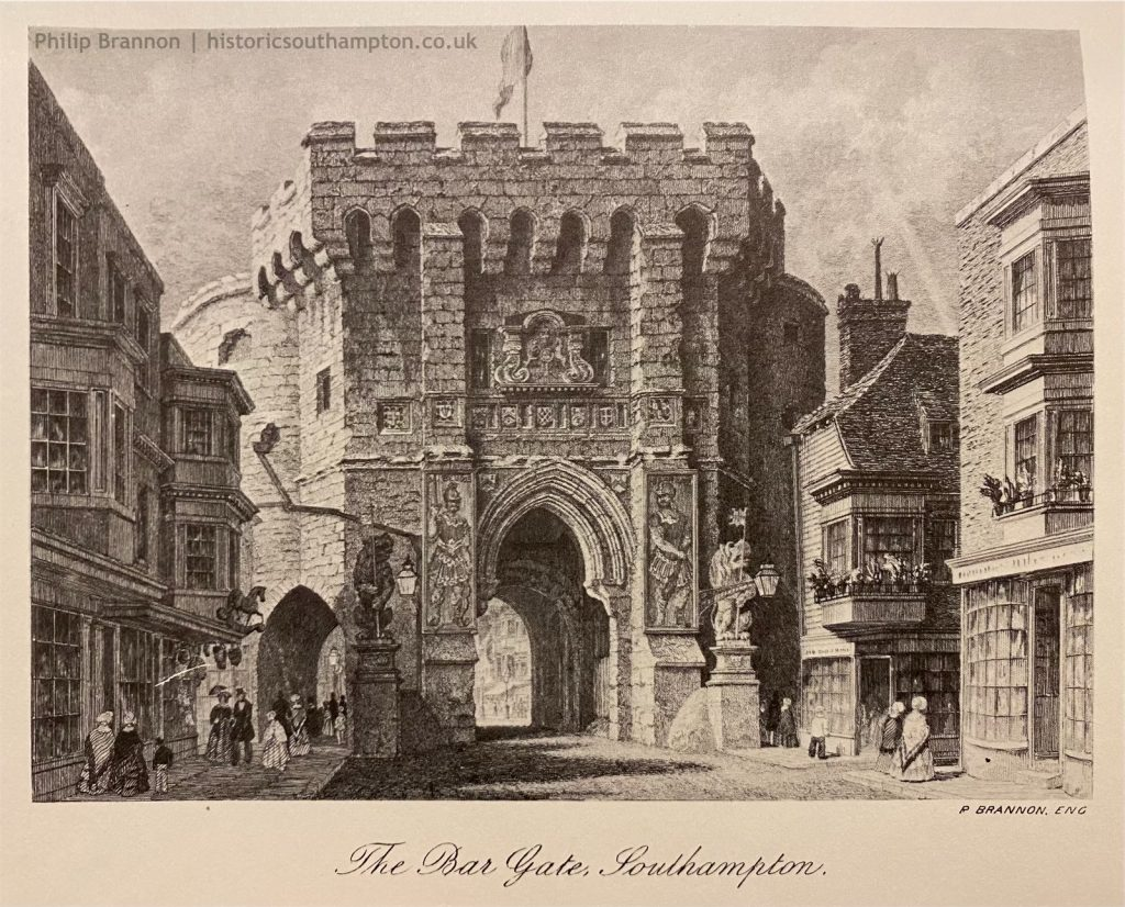Philip Brannon's engraving of the Bargate, upon which the panels of Bevis and Ascopart can be seen. This image dates to around 1850 and comes from my copy of Brannon's Picture of Southampton.
