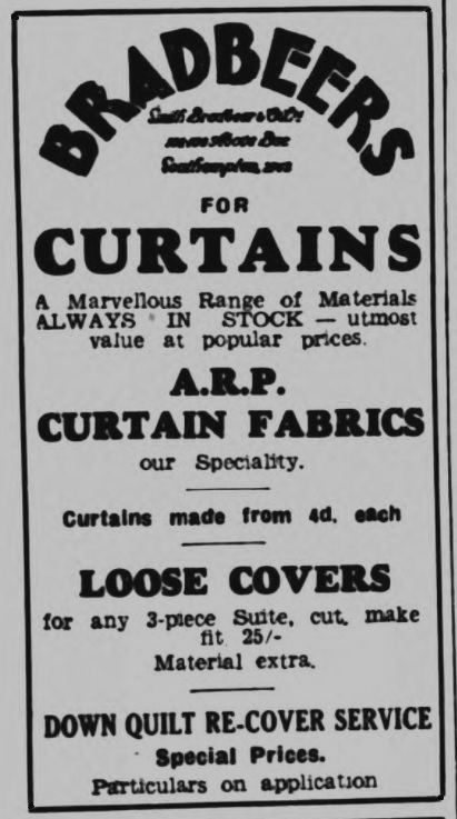 Get your Air Raid Precautions approved curtain fabrics at Bradbeers on Above Bar Street. The building was destroyed on